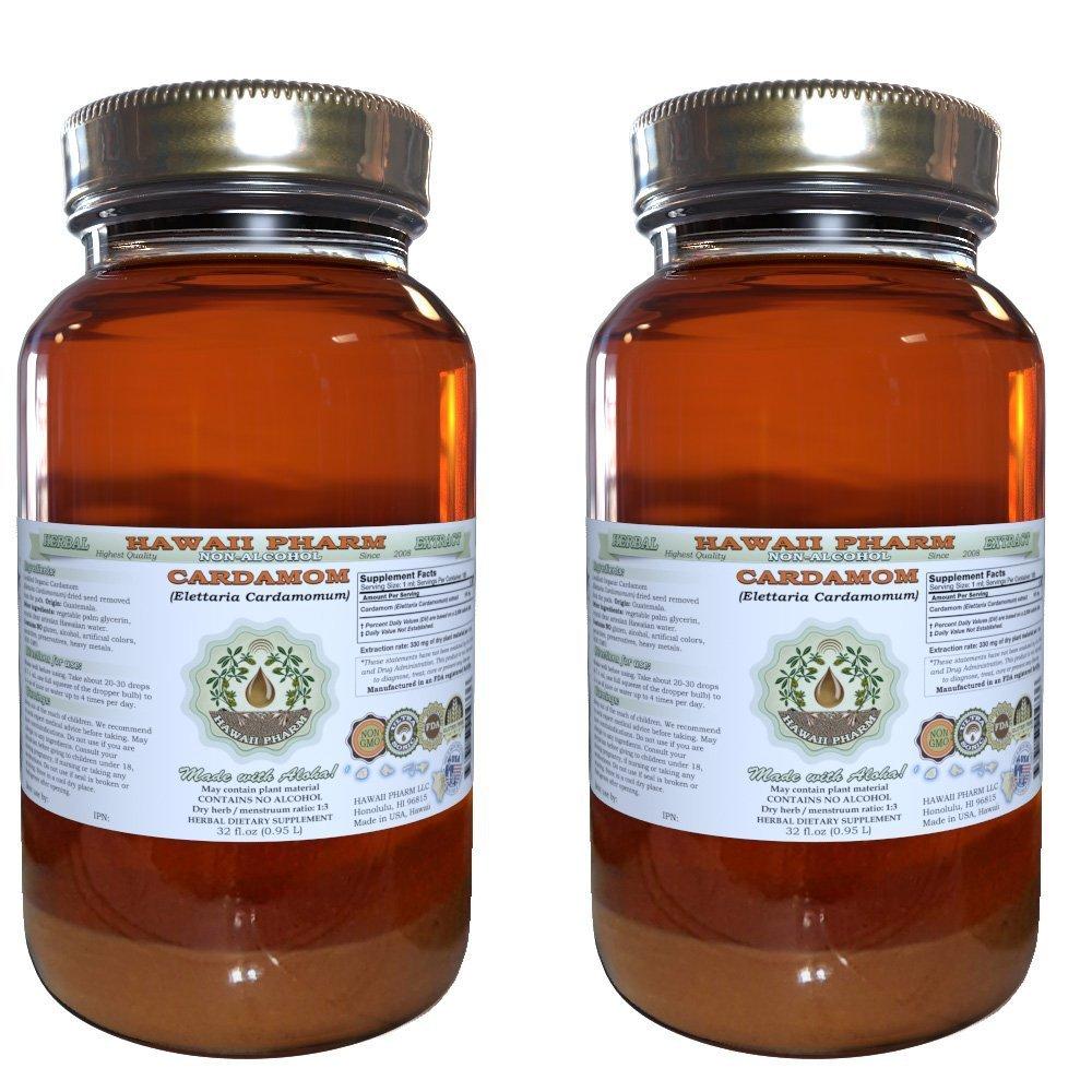 Cardamom Alcohol-FREE Liquid Extract, Organic Cardamom (Elettaria cardamomum) Dried Seed Glycerite Hawaii Pharm Natural Herbal Supplement 2x32 oz Unfiltered