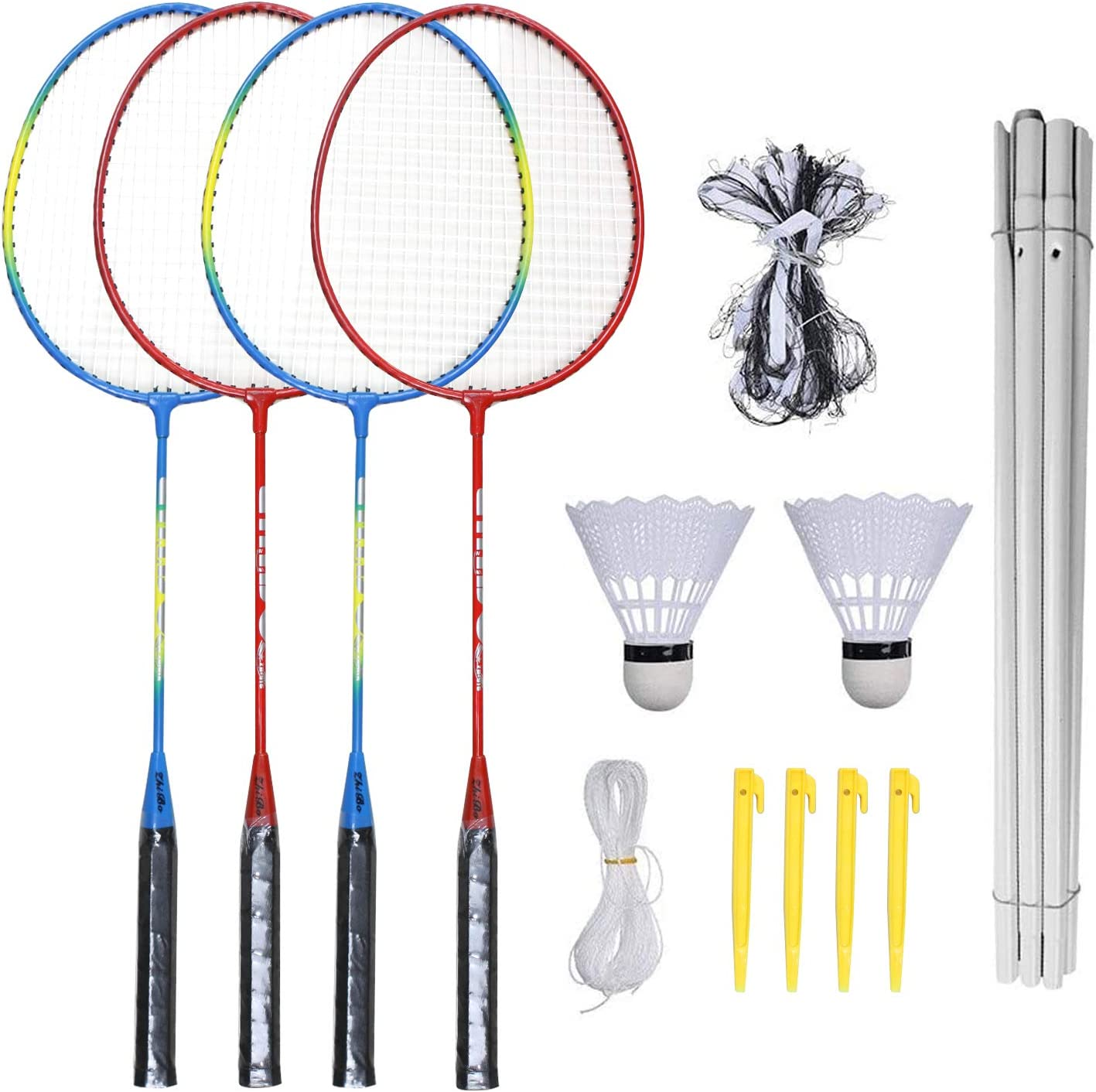 Amazon Com Haskas Badminton Set Portable Outdoor Badminton Combo Set Badminton Net System Fun Lawn Or Beach Game Sets For The Whole Family Sports Outdoors