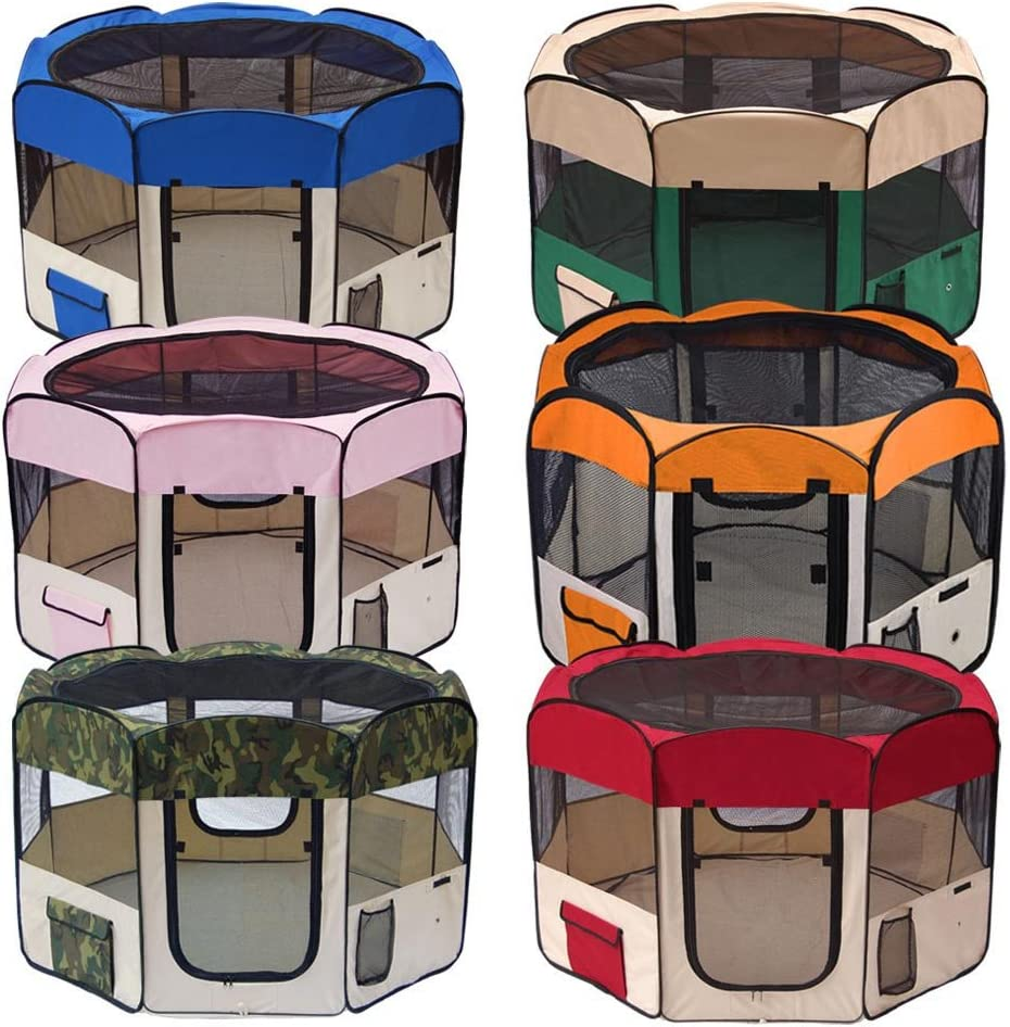 Red Small PETTOM Portable Pet Play Pen Foldable Soft Run Exercise Small Animal Cage for Puppy Dog Cat Rabbit Guinea Pig Playpen