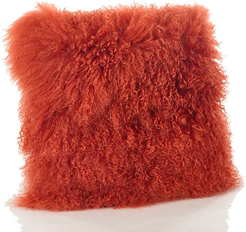 Occasion Gallery Pumpkin Orange Real Genuine Mongolian Lamb Fur Pillow, Filled. 20 Square