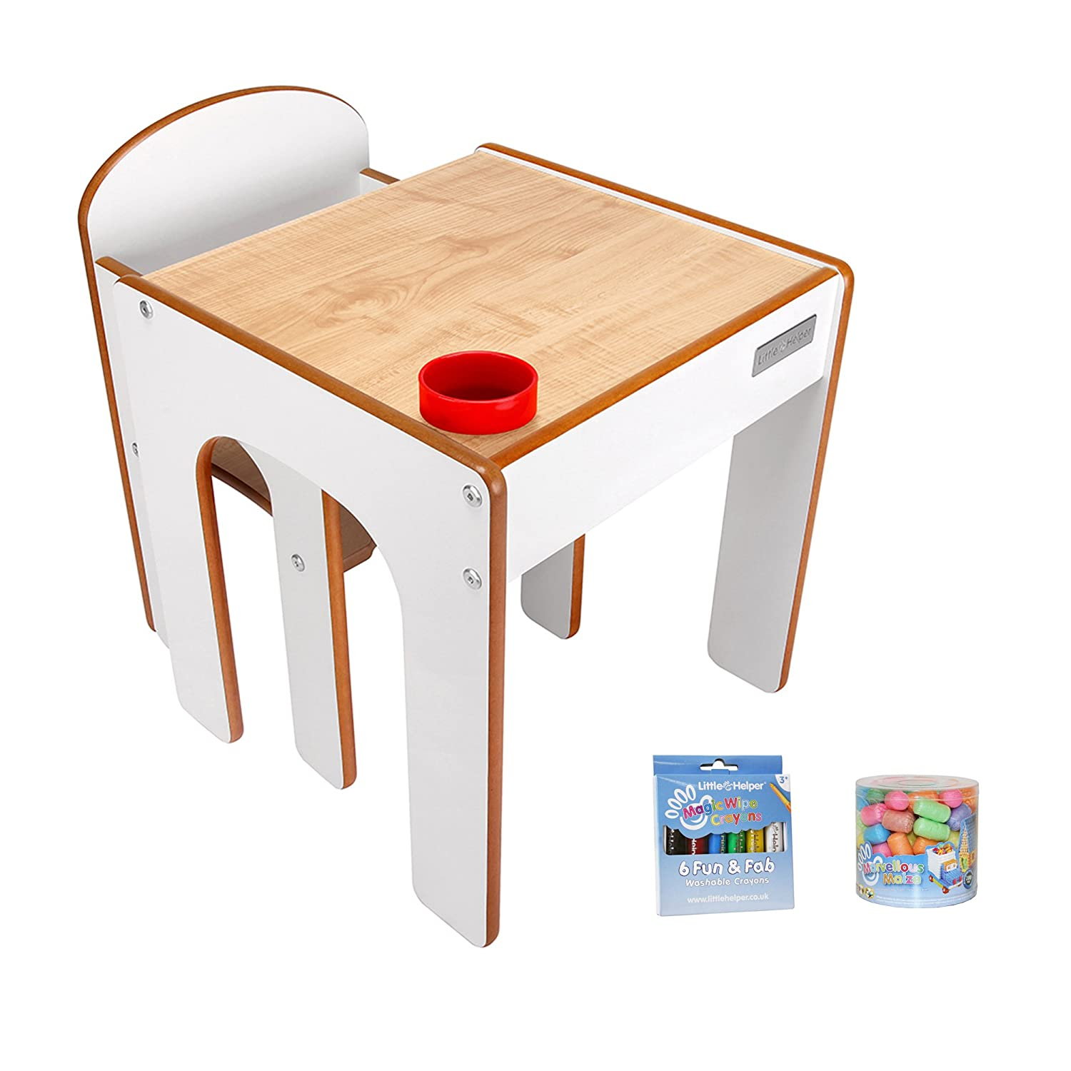 Little Helper Funstation Chalky Child Desk and Chair Set with Pen/Brush Pot, Maple/Natural, with a The Magic Cleans The Pastels and the Magic Maize Little Helper Ltd FS01M/MWC01-6/MM01-100BUN-IT
