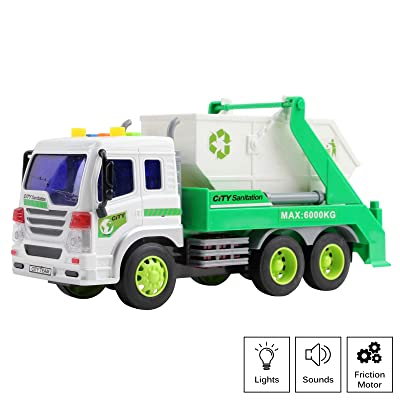 Vokodo Friction Powered Garbage Truck with Lights and Sounds Lift Up Body 1:16 Scale Durable Kids Dump Sanitation Push and Go Toy Car Pretend Play Transport Vehicle Great Gift for Children Boys Girls: Toys & Games
