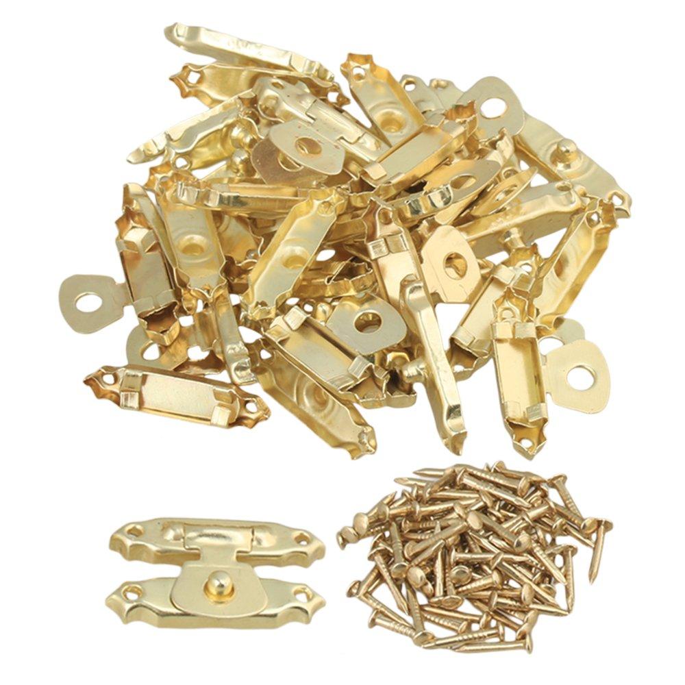 BQLZR Golden 27 x 16mm Mini Jewelry Case Metal Decorative Box Lid Latch Catch Pack of 20 N06589