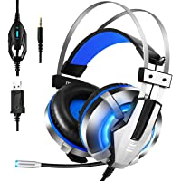 EKSA ES1901 Over-Ear Gaming Headphones with Mic, LED Light, Bass Surround, Soft Memory Earmuffs for Laptop