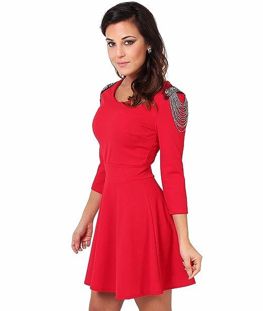 Vestido con Pedrería y Cadenas en los Hombros[Rojo,M]