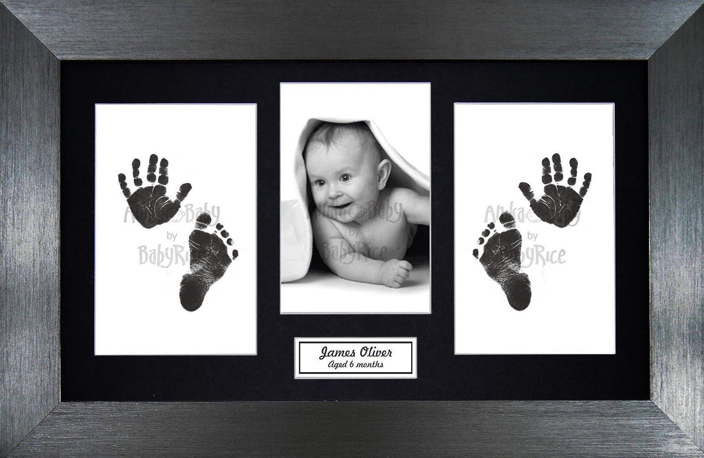 New Baby Boy Girl Keepsake Gift Hand Footprint Inkless Prints Kit Pewter Frame