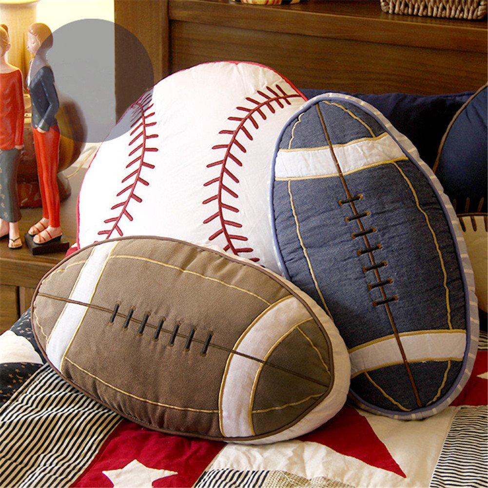 Simonshop Suave algodón fútbol Americano Rugby con Forma de Manta Almohada sofá cojín para los niños TIANJIA050-brown