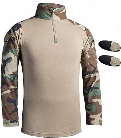 Hombres Airsoft Militar Táctico Camisa Largo Manga Delgado Ajuste Camuflaje Combate Camo Camisetas con Almohadillas de Codo Bosque Large: Amazon.es: Ropa y accesorios