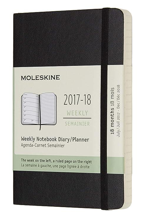Moleskine DSB18WN2Y18 - Agenda semanal 2017-2018, 18 meses, tapa blanda, color negro