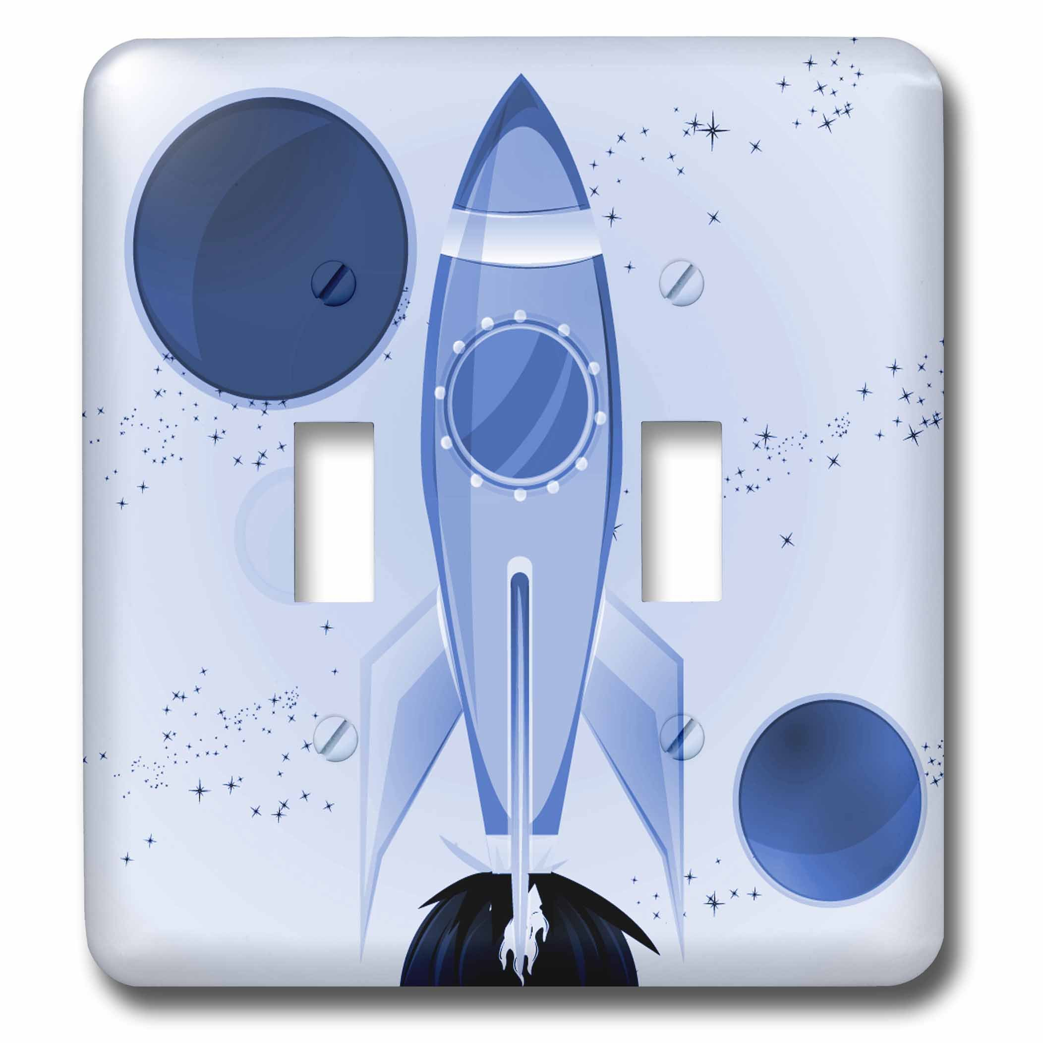 3dRose lsp_111579_2 Boys Rocket Ship with Planets Design Background Double Toggle Switch, Light Blue