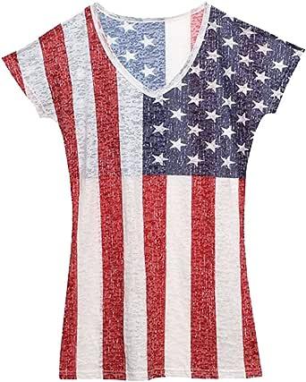 Las mujeres de Estados Unidos Ladies Burnout Camiseta: Amazon.es: Ropa y accesorios