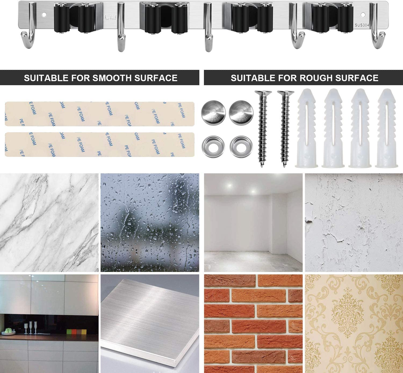 Goowin Support mural pour balai et serpill/ère en acier inoxydable robuste avec 3 /étag/ères et 4 crochets pour salle de bain noir cuisine bureau