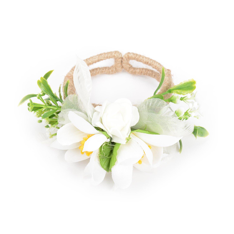 Holylove Prom/Wedding Hawaiian Sweet Love Flower Wrist Corsage, Faux Pearl Bracelet HLB10 White