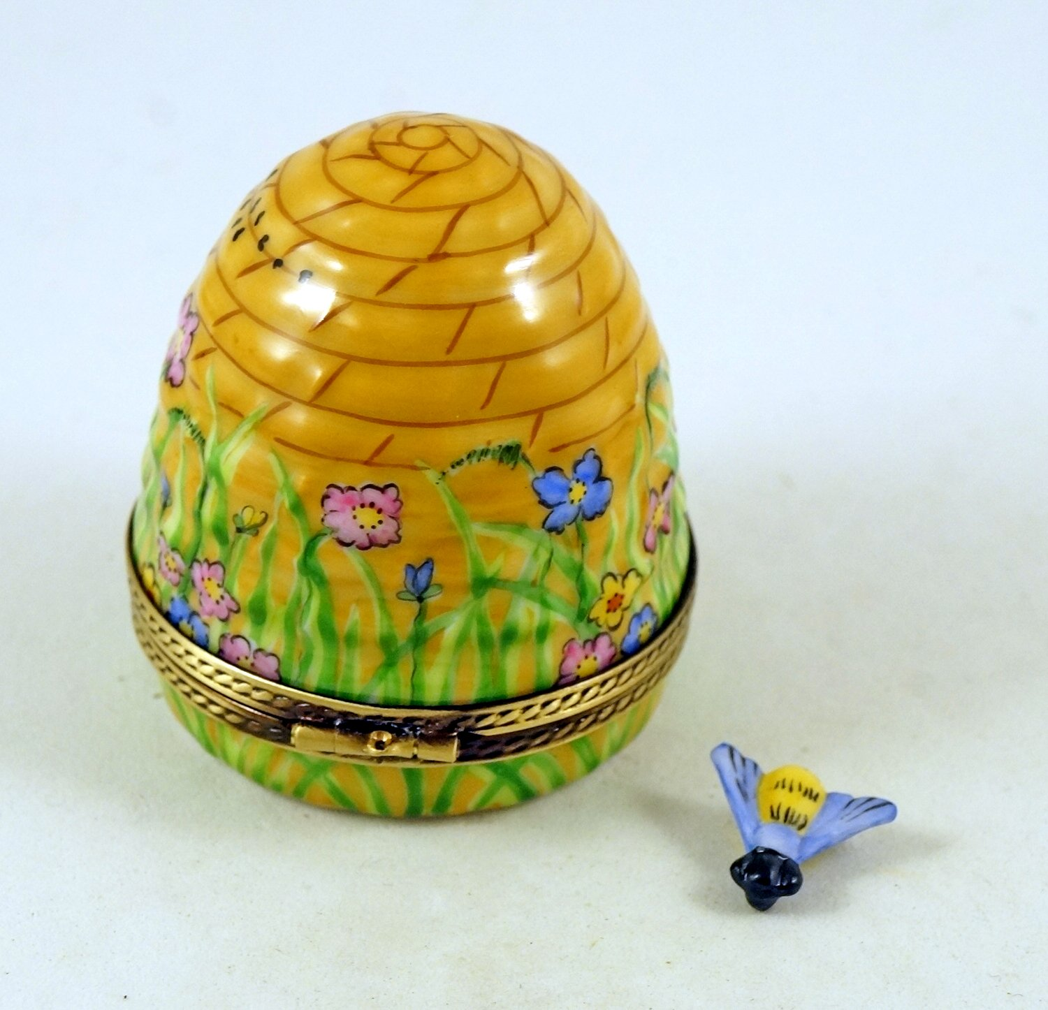 Authentic French Porcelain Hand Painted Limoges Trinket Box Amazing Colorful Beehive with Miniature Porcelain Removable Bee by Authentic Limoges Boxes (Image #2)