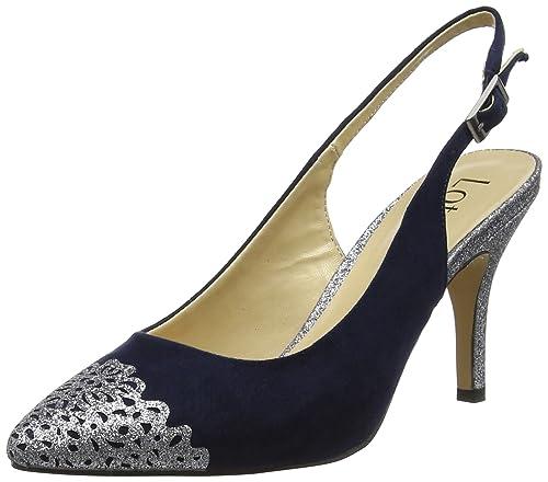 ce7c6f9bfd Lotus Women's Arlind Sling Back Heels, Blue (Navy/Pewter Glitz), 8 ...