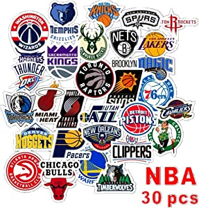 Swrotdin 30 Pieces Skateboard Stickers for NBA Basketball Sport Fan Vinyl Waterproof Sticker Application on Pad Notebook Car Snowboard Bicycle Luggage Decal DIY Decoration(NBA Team Logo)