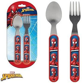 Spider-Man Cubertería infantil (2 piezas Cuchara + Tenedor Niños Cubiertos Disney: Amazon.es: Juguetes y juegos