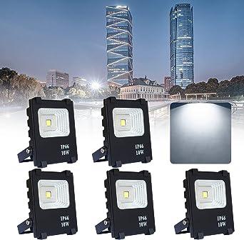 5*10W Proyector LED Blanco frío - Reflector LED Aluminium IP65 Waterproof - Para garaje, jardín o campo deportivo (5 * 10W Blanco frío, Negro): Amazon.es: Iluminación