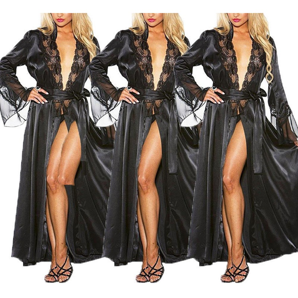 Alician Lady Ice Silk Robe Pajamas Hollow-Out Lace Gown Bathrobe Waistband