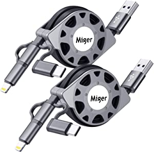 Miger MFi Certified 3.3 Feet(1 Meter) 2Pack 3 in 1 Charge and Sync Cable with pins & Micro USB & Type C Connectors Cord Compatible with iPhone, iPad, iPod Touch /iOS9, Samsung/HTC & More (Black)