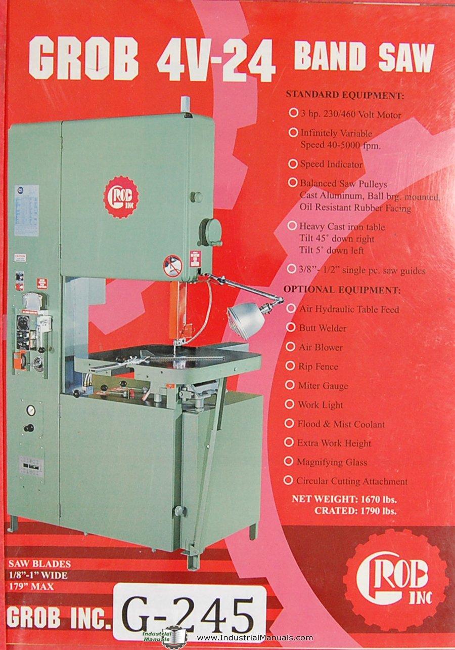 Grob Operators Instruction 4V Series Band Saw Machine Manual