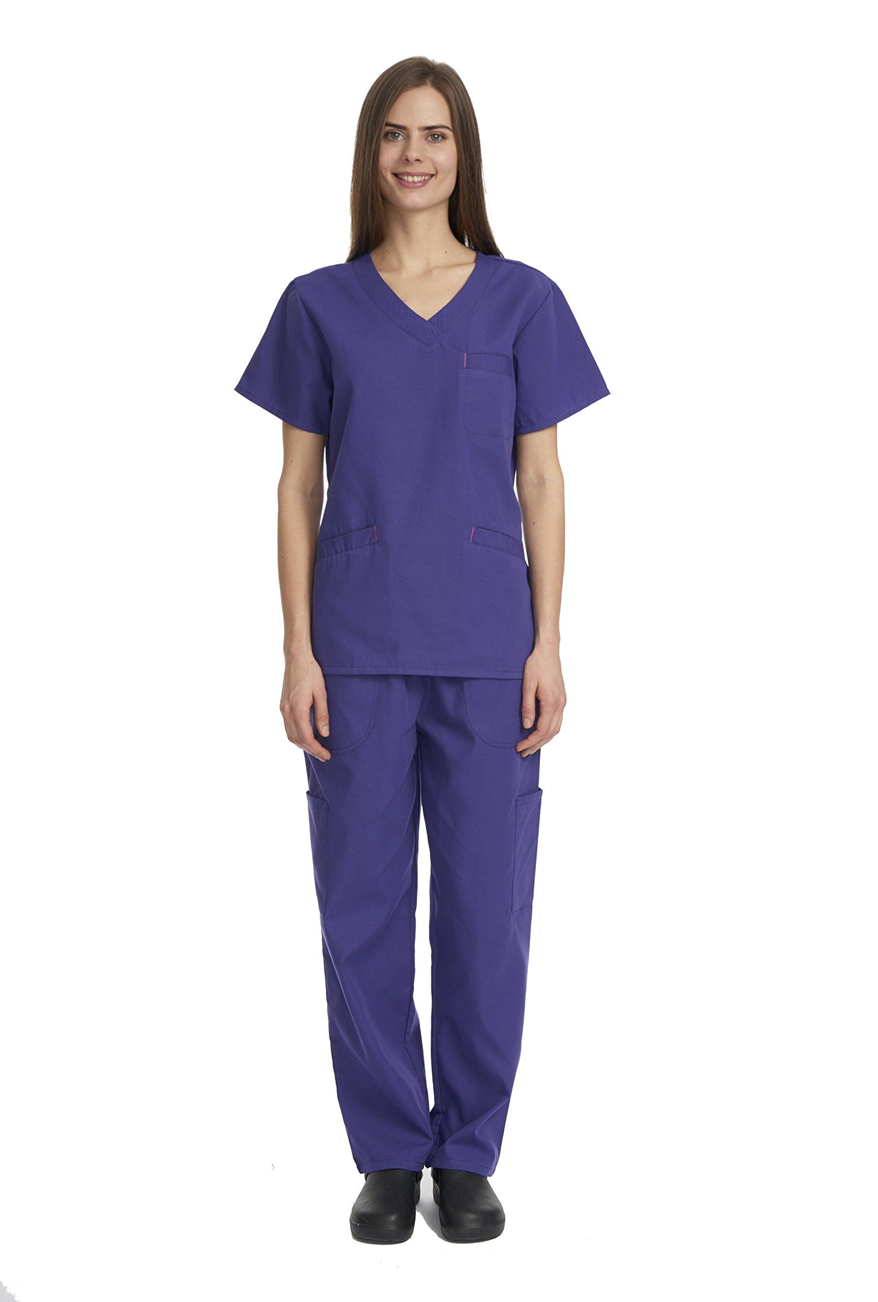 Denice Womens Scrub Sets/Multiple Pockets/Medical Uniforms 1050 (Medium, Grape)