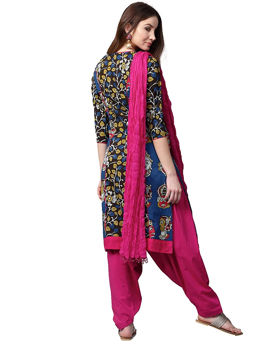 8068d7bd92 Jaipur Kurti Women Brown & Pink Printed Cotton Kurta with Patiala & Dupatta:  Amazon.in: Clothing & Accessories