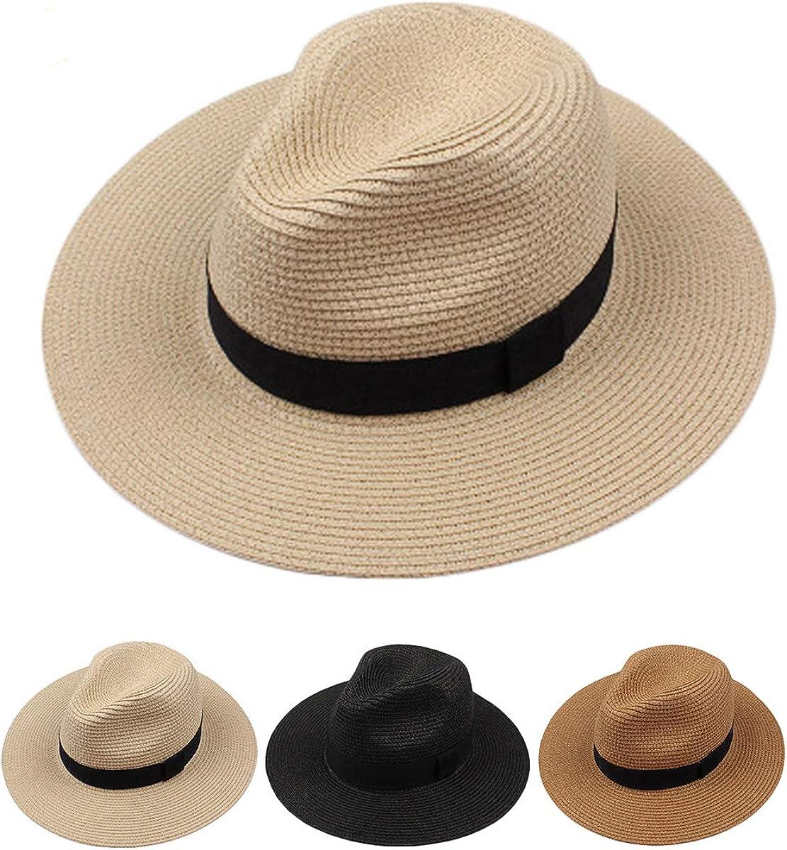 Style Cream, L Head Circum 22.8-23.6 Womens Wide Brim Straw Panama Hat Fedora Summer Beach Sun Hat UPF