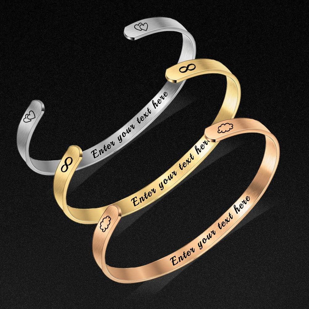 Bracelet Personnalis/é Pr/énom,Bracelet Jonc Manchette,Bracelet Grav/é Prenom Femme Homme,Couple Bracelet Ajustable