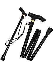 Folding Black Walking Stick Adjustable Travel Portable Secure Non Slip Lightweight Aluminium Metal