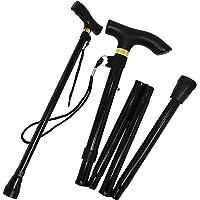 Folding Walking Stick for Women Portable for Travel - Strong Lightweight Non-Slip Aluminium (Black)