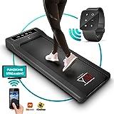 YM - Cinta de correr eléctrica Walking Pad escritorio App Kinomap y Fitshow, reloj mando a distancia Watch Controller, profesional Slim plano Bluetooth para casa y oficina 1,5 HP (pico 2,5 HP)