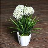XICHEN Artificial Potted Plant, Hydrangea, 10Inch (White)
