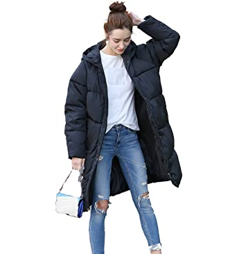 121ca486f62 Women s Winter Thicken Warm Hoodie Down Jacket Fashion Plus-Size Zipper  Long Overcoat Puffer (