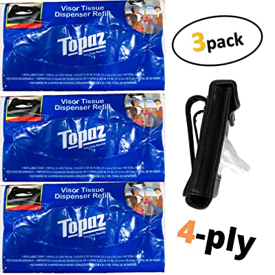 TopNotch Outlet Visor Tissue Refills for Tempo Sun Visor Dispenser (3 Pack) 24 Facial Tussues (4-Ply) 96 Total Sheets - Quality Dry Wipes - Car and Truck Visor Accessories: Automotive