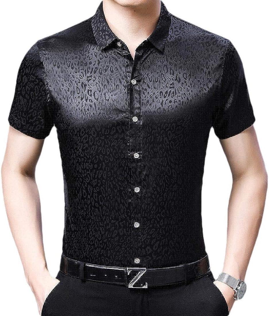 omniscient Men Basic Short Sleeve Paisley Cotton Jacquard Shirt Casual Button Down Shirt