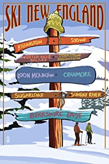 product image for New England - Ski Areas Destinations Sign (16x24 Giclee Gallery Print, Wall Decor Travel Poster)