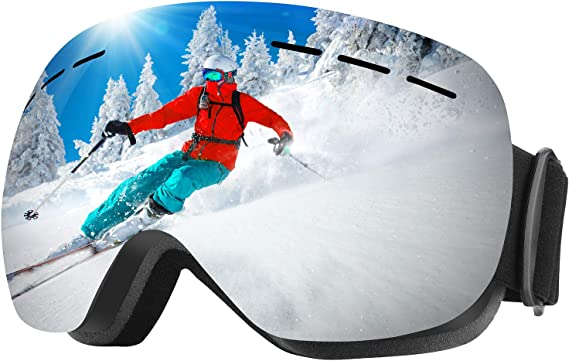 WELLVO Ski Goggles OTG Snowboard Goggles Anti-Fog Dual Lens 100% UV Protection TPU Frame Snow Goggles for Men Women Helmet Compatible