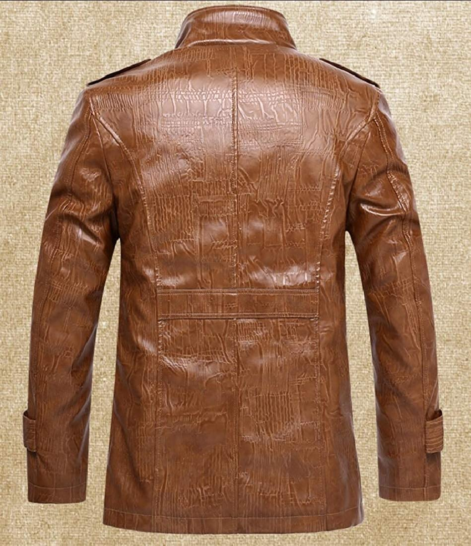 XQS Mens Faux Leather Jacket Stand Collar PU Coats Motorcycle Jacket