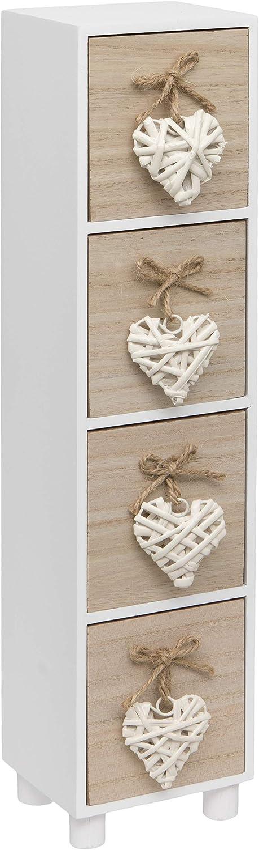 Maturi Cajonera de Madera con Cuatro cajones, diseño de corazón, Color, marrón y Blanco, 44.5 x 11 x 9.5 cm