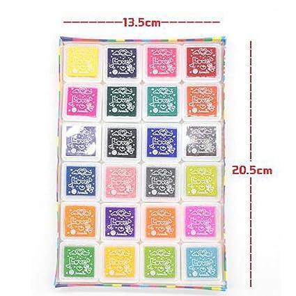 24 colores Tinta para Huellas arte color tinta tampografía sellos para huella digital papel tela niños