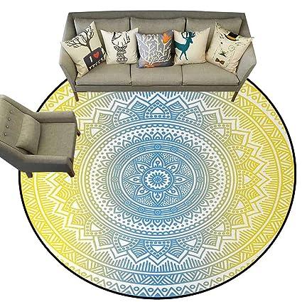 Amazon Com Hedda Clare Circular Non Slip Mat Printed Blue