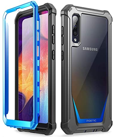 Galaxy A50 Rugged Clear Case, Poetic Full-Body Hybrid Shockproof Bumper Cover, Built-in-Screen Protector, Guardian Series, Case for Samsung Galaxy A50 ...