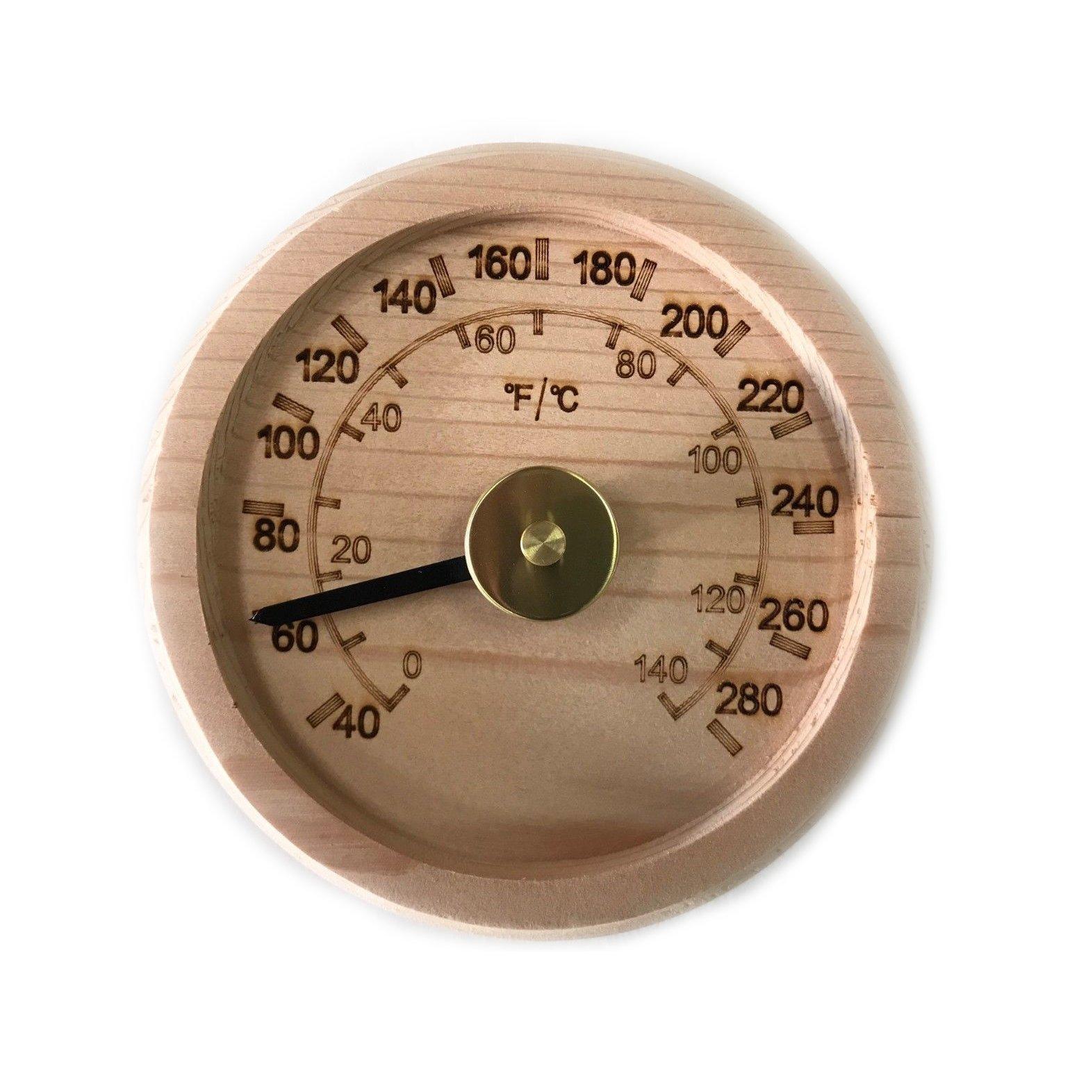 Engraved Cedar Round Sauna Thermometer C-F (4'' Diameter) by The Sauna Place