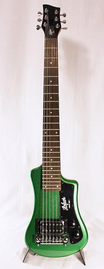 Hofner - Guitarra el?ctrica de viaje, color verde: Amazon.es ...