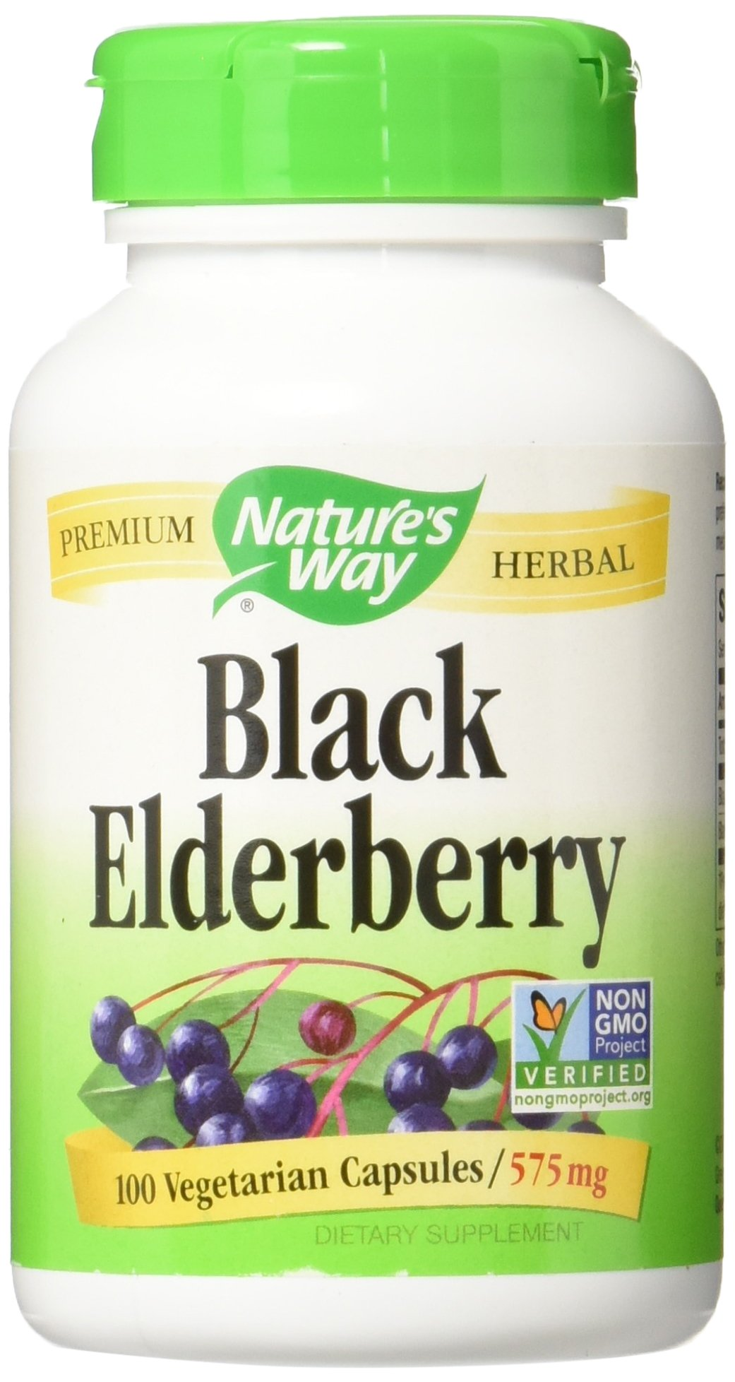 Nature's Way Black Elderberry 575 mg, 100 Vcaps, Pack of 3