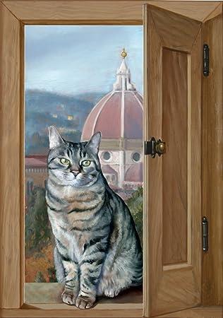 Trompe L Oeil Malerei trompe l oeil malerei auf holz die katze auf dem fenster mit blick