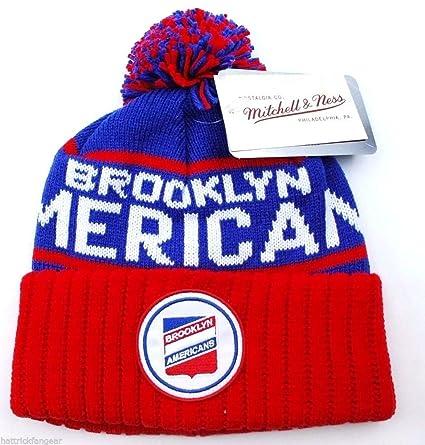 bc40d401c Amazon.com : Mitchell & Ness Brooklyn Americans NBA Knit Beanie ...