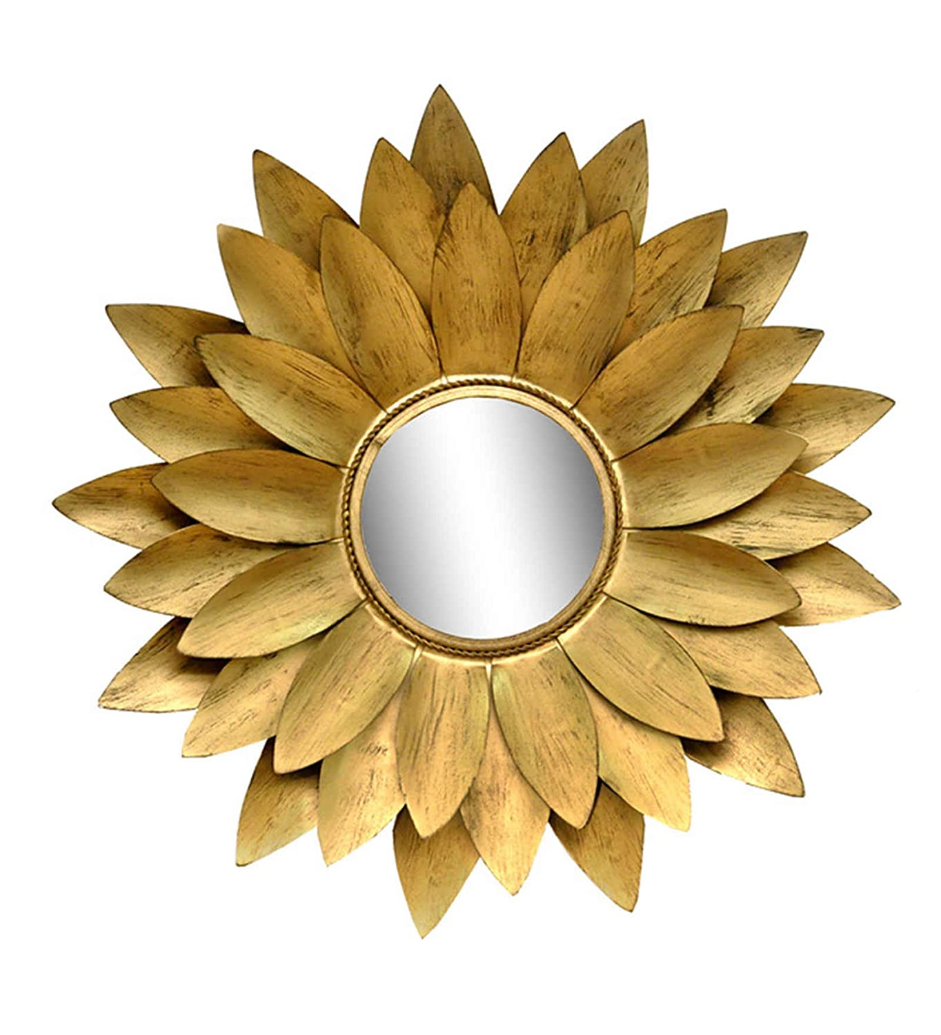 Buy Flower Design Gold Color Metal and Glass Wall Mounted Mirror ...