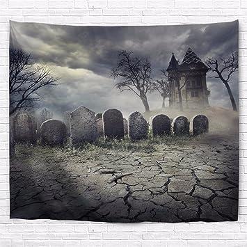 Gothic Friedhof Grab Halloween Deko Grabstein mit Moos